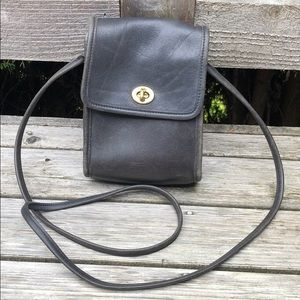 Vtg Coach Scooter Black Crossbody USA Cowhide